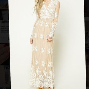 Forever 21 Embroidered Maxi Dress Size S New